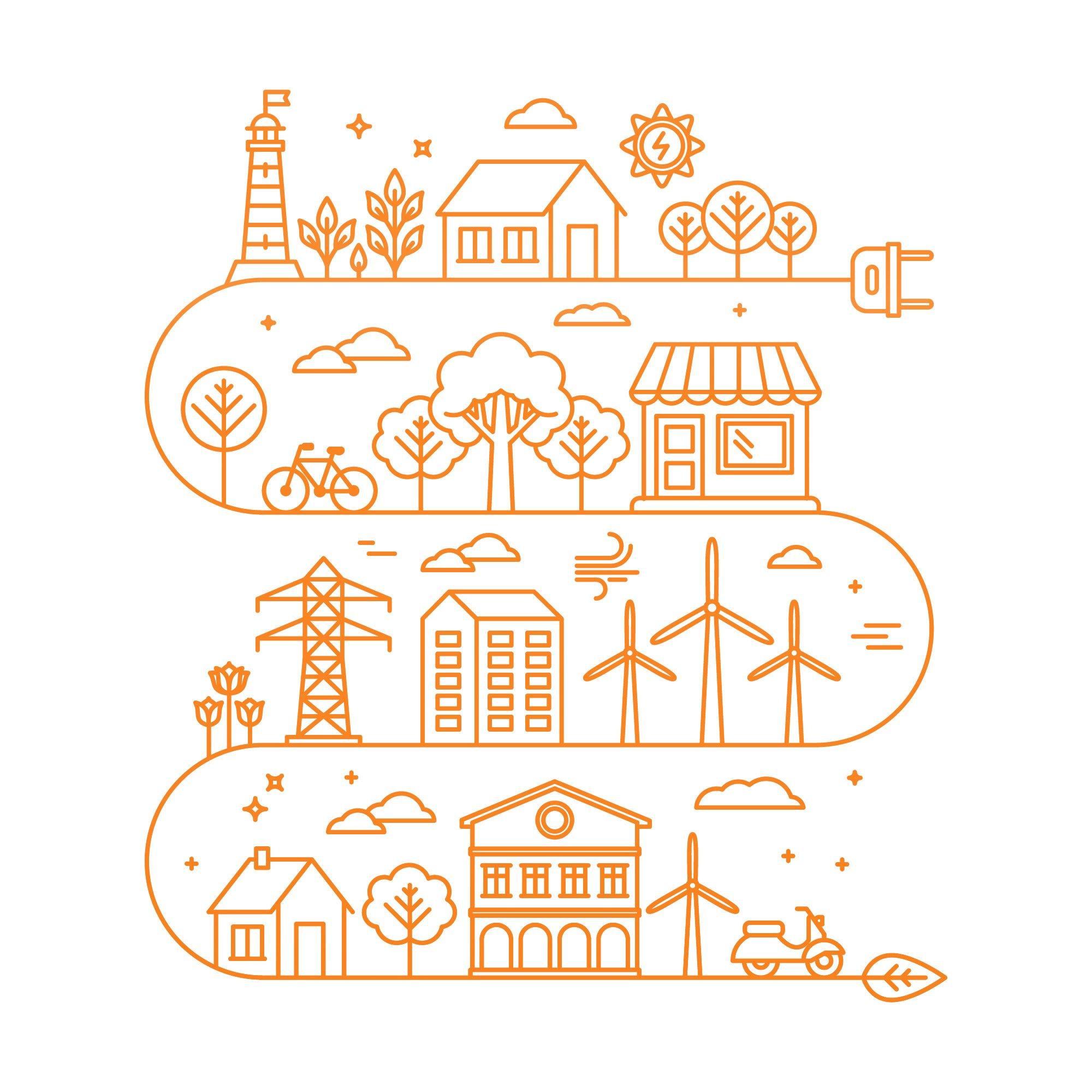 Stadt Skyline - Es werden alternative Energieressourcen genutzt
